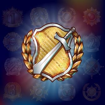 Modelo de prêmio militar de desenho animado