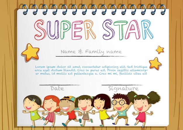 Modelo de prêmio super star com as crianças no fundo