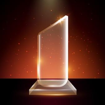 Modelo de prêmio troféu de vidro acrílico transparente em branco em fundo brilhante