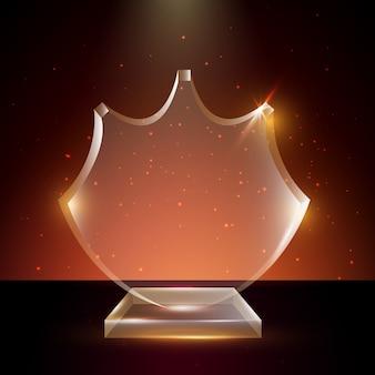 Modelo de prêmio troféu de vidro transparente em branco em fundo brilhante