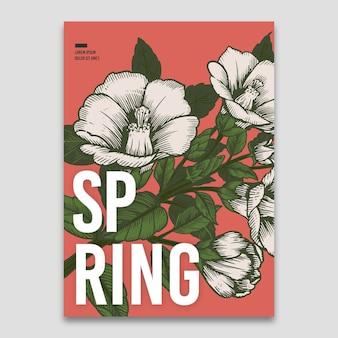 Modelo de primavera com conceito de flores