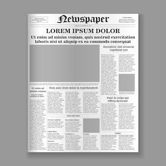 Modelo de primeira página de jornal realista.