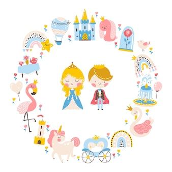 Modelo de princesa com animais e pássaros unicórnio flamingo cisne balão de carruagem do castelo