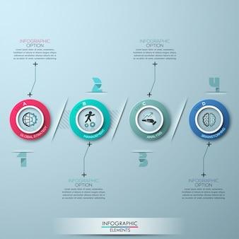 Modelo de processo de estilo de origami moderno círculo empresarial