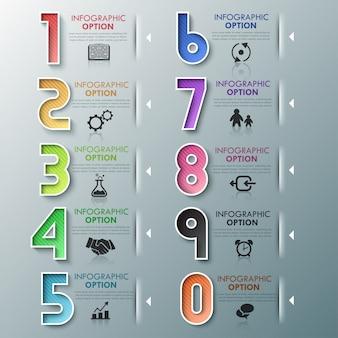 Modelo de processo de infografia moderna com números