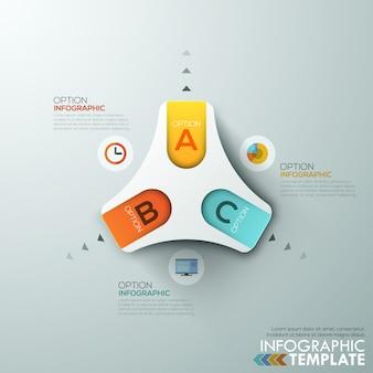 Modelo de processo de infografia moderna com triângulo de papel