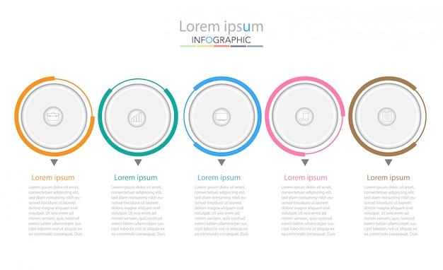 Modelo de processo de negócios. infográficos da linha do tempo com cinco etapas ou opções.