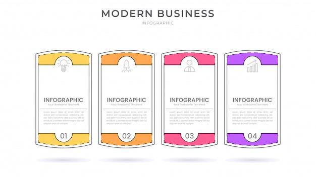 Modelo de processo de organograma de design de infográfico de estilo simples