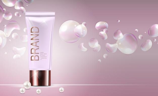 Modelo de produto de cosméticos design para fundo de anúncios. ilustração em vetor 3d realista