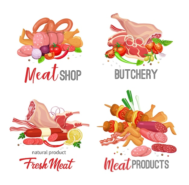 Modelo de produtos de carne com banners de vegetais e especiarias