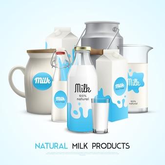 Modelo de produtos de leite natural