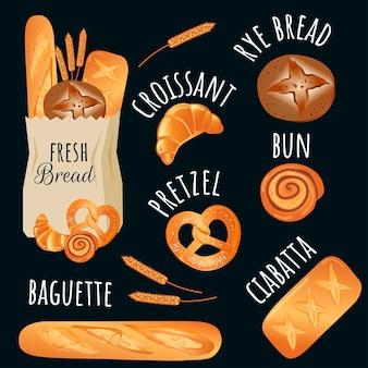 Modelo de produtos de padaria. tipos de pão - conjunto de ilustrações vetoriais. grãos inteiros, trigo, centeio, baguete, croissant, pão, bagel e orelhas. ícones para a padaria.