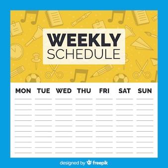 Modelo de programação semanal adorável escola