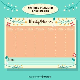 Modelo de programação semanal colorido com design plano