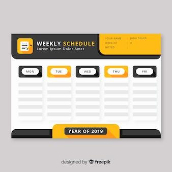 Modelo de programação semanal moderna com design plano