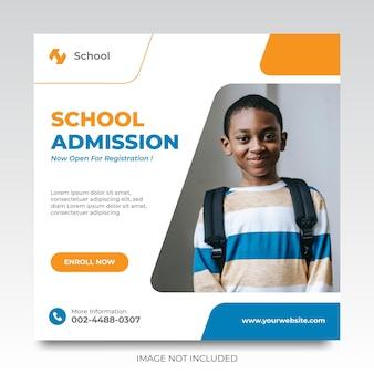 Modelo de promoção de anúncios em mídia social para admissão escolar