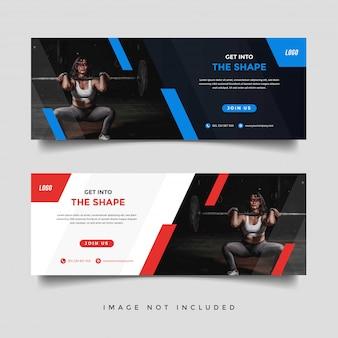 Modelo de promoção de banner de ginástica e fitness