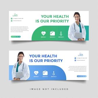 Modelo de promoção de banner de saúde e médico