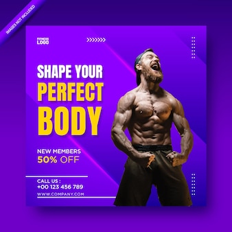 Modelo de promoção de banner na web e postagem de mídia social de fitness ou academia