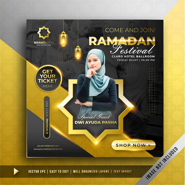 Modelo de promoção de banner quadrado dourado festival ramadan de luxo