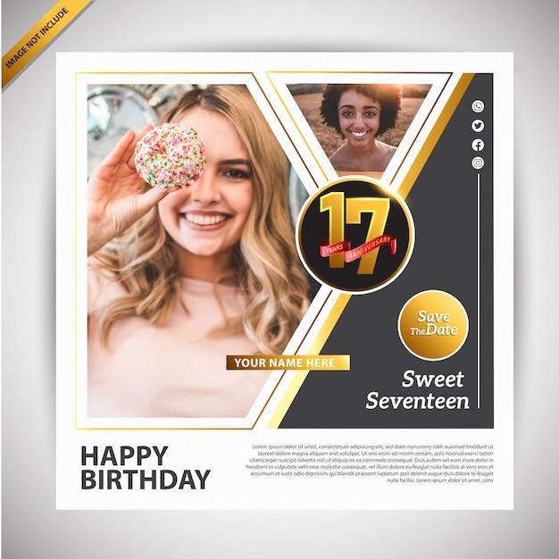 Modelo de promoção de feliz aniversário banner