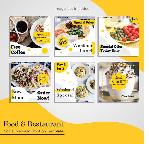 Modelo de promoção de mídia social de restaurante de comida