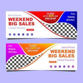 Modelo de promoção de vendas grande banner fim de semana