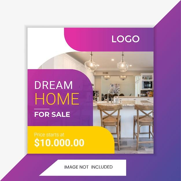 Modelo de promoção quadrada de postagem de imóveis de mídia social. marketing de promoção de vendas.