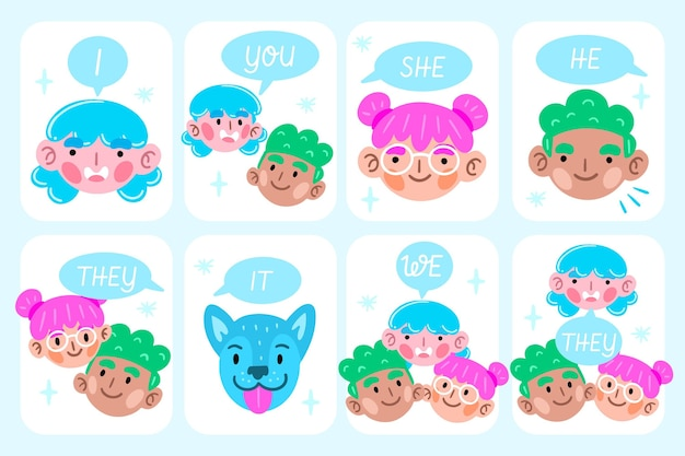 Modelo de pronomes de assunto em inglês