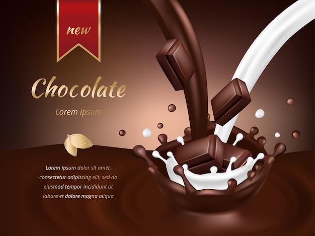 Modelo de propaganda de chocolate. ilustração em vetor realista chocolate e leite