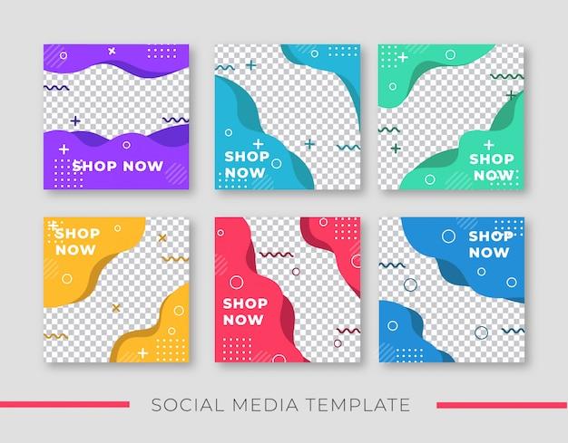 Modelo de publicação de banner colorido para mídias sociais