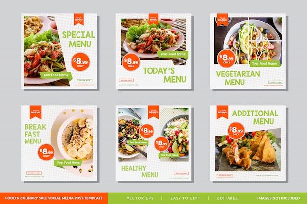 Modelo de publicação de mídia social de alimentos e culinária