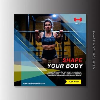 Modelo de publicação de mídias sociais de fitness, postagem no instagram