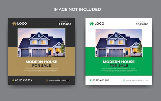 Modelo de publicação do instagram de mídia social imobiliária