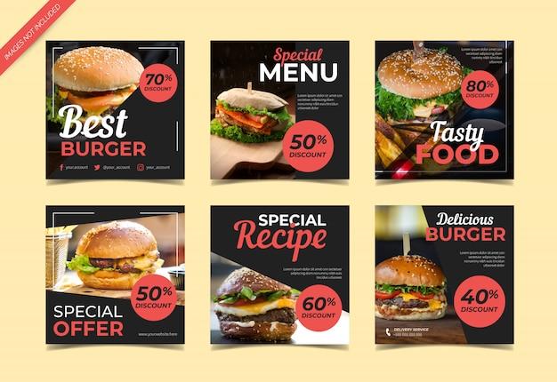 Modelo de publicação do instagram de mídias sociais de hambúrguer