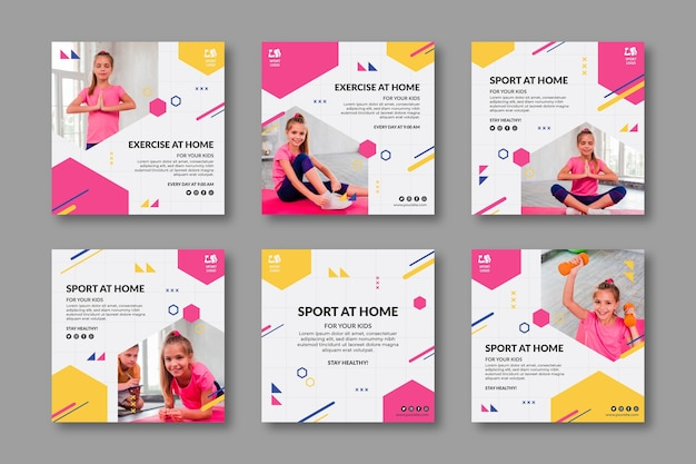 Modelo de publicações nas redes sociais de desporto em casa