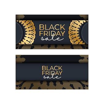 Modelo de publicidade blue friday black friday celebration com ornamento de ouro grego