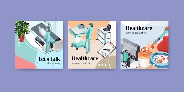 Modelo de publicidade com cuidados de saúde e hospital