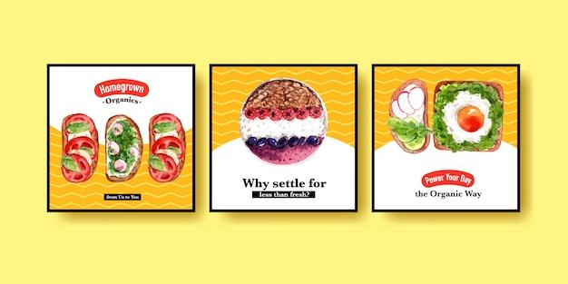 Modelo de publicidade com design de alimentos saudáveis e orgânicos