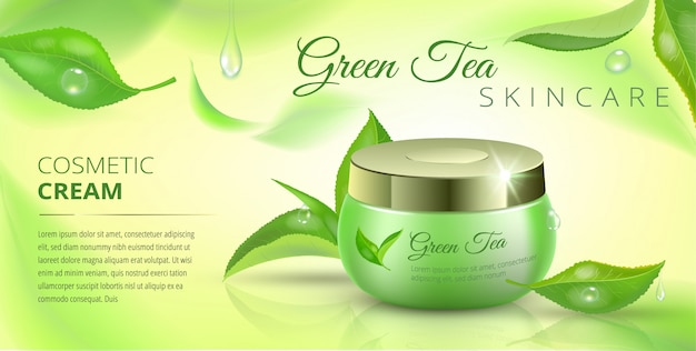 Modelo de publicidade cosmética chá verde, anúncios com folhas e pacote cosmético a voar.