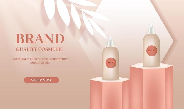 Modelo de publicidade de cosméticos com forma geométrica de garrafas no palco