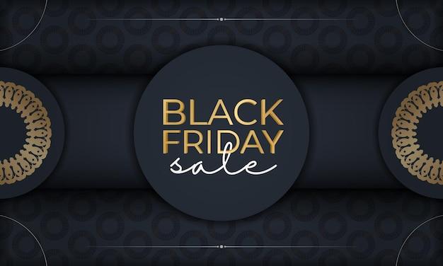 Modelo de publicidade de férias para black friday em azul escuro com luxuoso padrão dourado