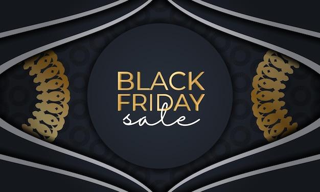 Modelo de publicidade de férias para sexta-feira negra em azul escuro com enfeite de ouro luxuoso