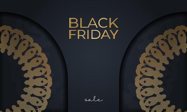 Modelo de publicidade de férias para sexta-feira negra em azul escuro com enfeite redondo de ouro