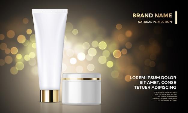 Modelo de publicidade de pacote cosmético cuidados com a pele creme fundo dourado