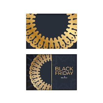 Modelo de publicidade de sexta-feira em preto e azul escuro com padrão dourado abstrato