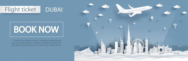 Modelo de publicidade de voo e bilhete com a viagem ao conceito de dubai em estilo de corte de papel