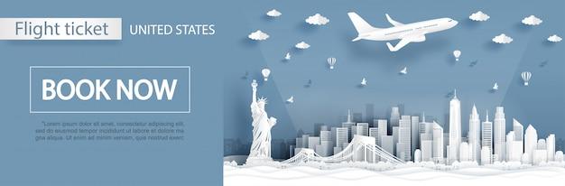 Modelo de publicidade de voo e bilhete com viagens para a cidade de nova york, américa