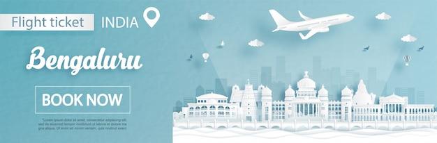 Modelo de publicidade de voo e bilhete com viagens para bengaluru, conceito de índia e marcos famosos em estilo de corte de papel