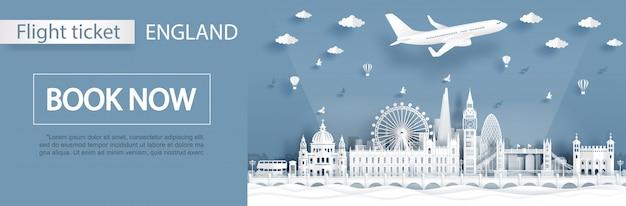 Modelo de publicidade de voo e bilhete com viagens para londres
